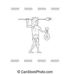 Paleo Man - Cave man with mear and arrow - paleo food logo...