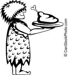Paleo waiter - Silhouette of a prehistoric waiter with a...