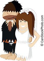Paleo Wedding - Happy prehistoric engaged caveman couple...