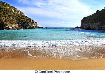 paleokastritsa, 바닷가, corfu, 수평이다