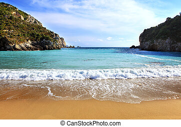 paleokastritsa, horizontális, tengerpart, corfu