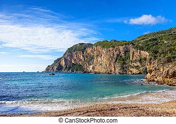 paleokastritsa, strand, och, klippor