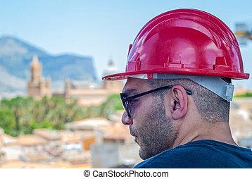 palermo, bezpečnost, dělník, helma