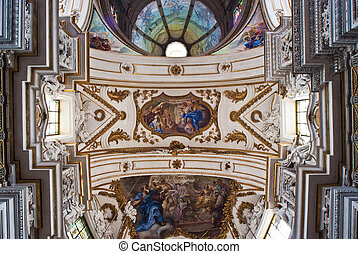 PALERMO, ITALY - MAY 28, 2013: Cupola and ceiling of church...