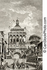 Palermo, Italy, Porta Nuova antique illustration