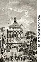 Palermo, Italy, Porta Nuova antique illustration - Antique...