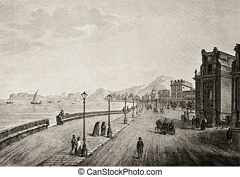 Palermo, Italy, promenade antique illustration
