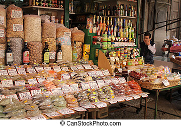 PALERMO, ITALY, May 16, 2010: displays of products on offer in the world famous Capo market in Palermo, Sicily