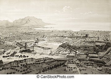 Palermo, old perspective view - Old illustration of a ...