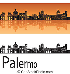 Palermo skyline in orange background in editable vector file