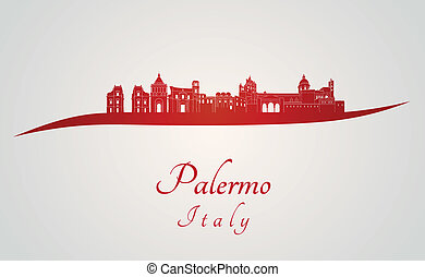 Palermo skyline in red and gray background in editable ...