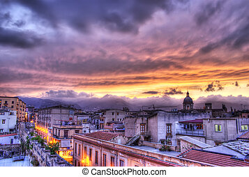 Palermo view at sunset in hdr. Sicily