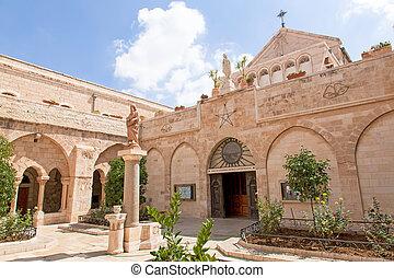 palestin., geboorte, kerk, bethlehem., stad