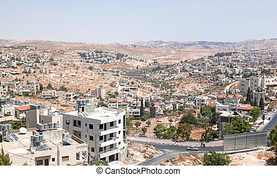 Palestin. A panorama of the city of Bethlehem from height