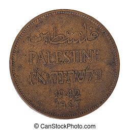palestina, 2, aislado, moneda, mils