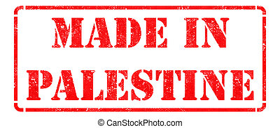 palestina, hecho, rojo, stamp.