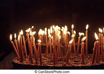 palestina, velas, belén, natividad, iglesia