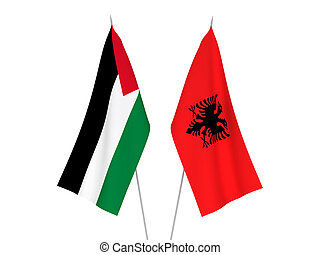 Palestine and Albania flags - National fabric flags of ...