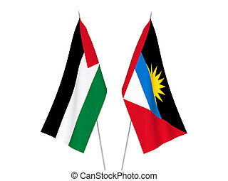Palestine and Antigua and Barbuda flags - National fabric ...