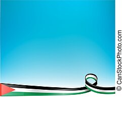 PALESTINE FLAG on blue sky backgrou