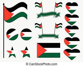 Palestine flag set. Collection of symbols, flag in heart. Vector illustration