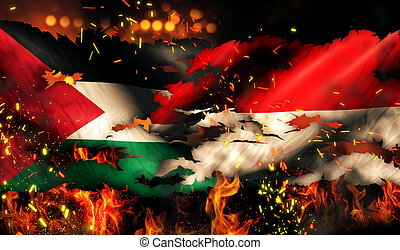 Palestine Indonesia Flag War Torn Fire International...