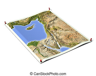 Palestine on unfolded map sheet with thumbtacks. Map colored according to vegetation. Includes clip path for the background. Map projection: Mercator ; Geographic extents: W: 30; E: 40; S: 27; N: 38