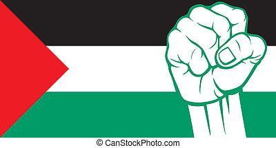 palestine, palestine), (flag, poing