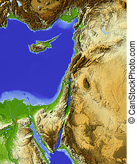 Palestine, shaded relief map