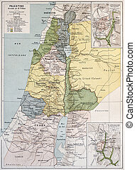 Palestine tribes old map with Jerusalem insert maps. By Paul...