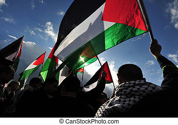 Palestinian Activists Protest - Silhouette of Palestinian...