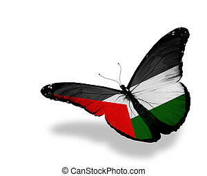 Palestinian flag butterfly flying, isolated on white background