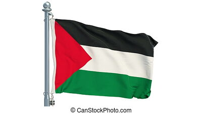 Palestinian flag waving on white background, animation. 3D...