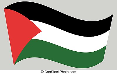 Flag of Palestine waving on gray background