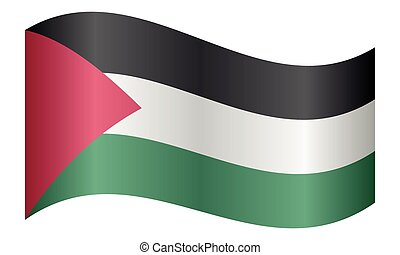 Flag of Palestine waving on white background