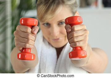 palestra, donna, pesi, sollevamento
