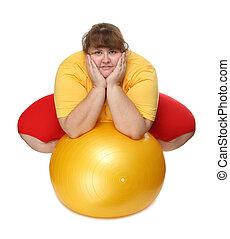palestra, donna, sovrappeso, palla, seduta