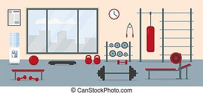 palestra, interno, equipment., allenamento