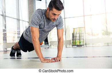 palestra, push-ups, uomo