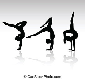 palestra, ragazza, nero, silhouette
