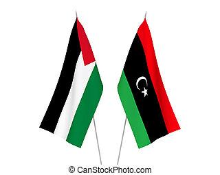 palesztina, líbia, zászlók