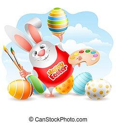 palet, eieren kleurde, pasen, borstels, kunst, konijntje, verf