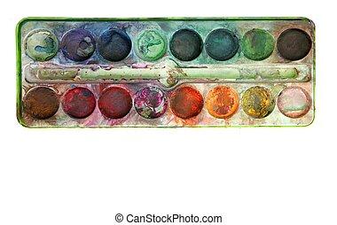 palet, gebruikt, kleurrijke, op, watercolor, witte
