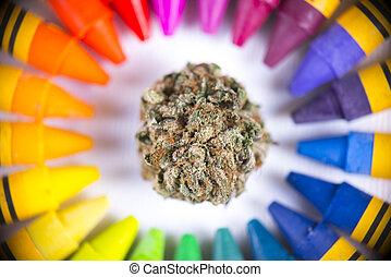 palet, kleurrijke, macro, omringde, detail, cannabis, enkel,...