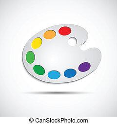palet, kunst, moderne, illustratie, vector, acht, kleuren