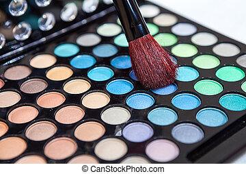 palet, makeup borstel, schoonheidsmiddel, veelkleurig