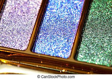 palet, oog, gekleurde, opmaken, schaduw, schitteren