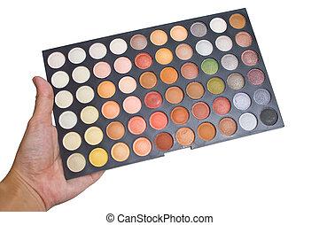 palet, oog, kleurrijke, opmaken, schaduw, hand.