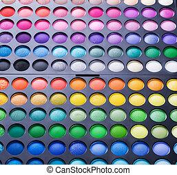 palet, oog, set., makeup, veelkleurig, professioneel, schaduw