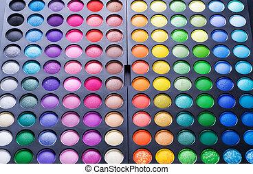 palet, oog, set., veelkleurig, make-up, professioneel, schaduw